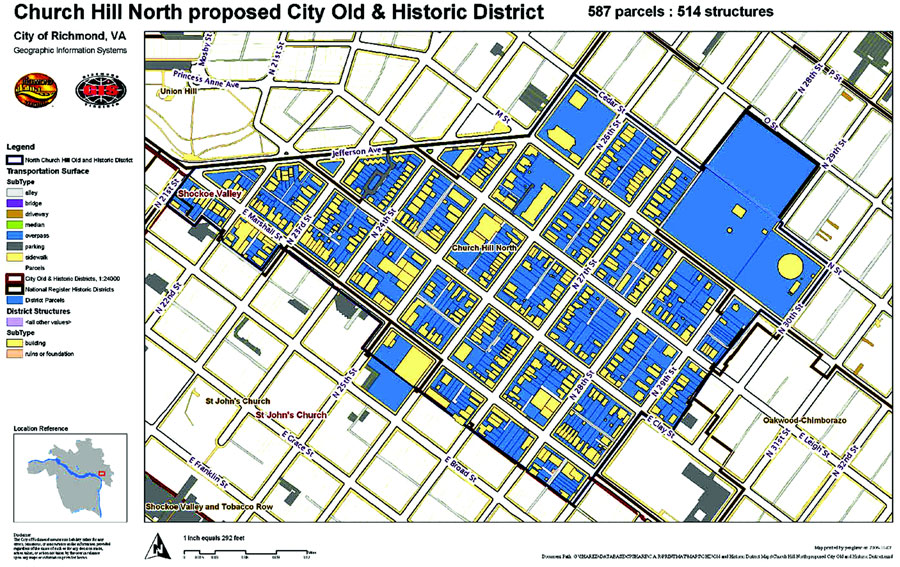 map pf proposed church hill north old and historic district