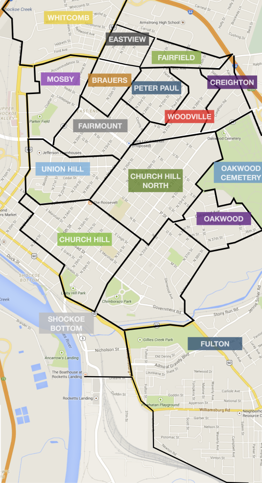 Map of East End neighborhoods