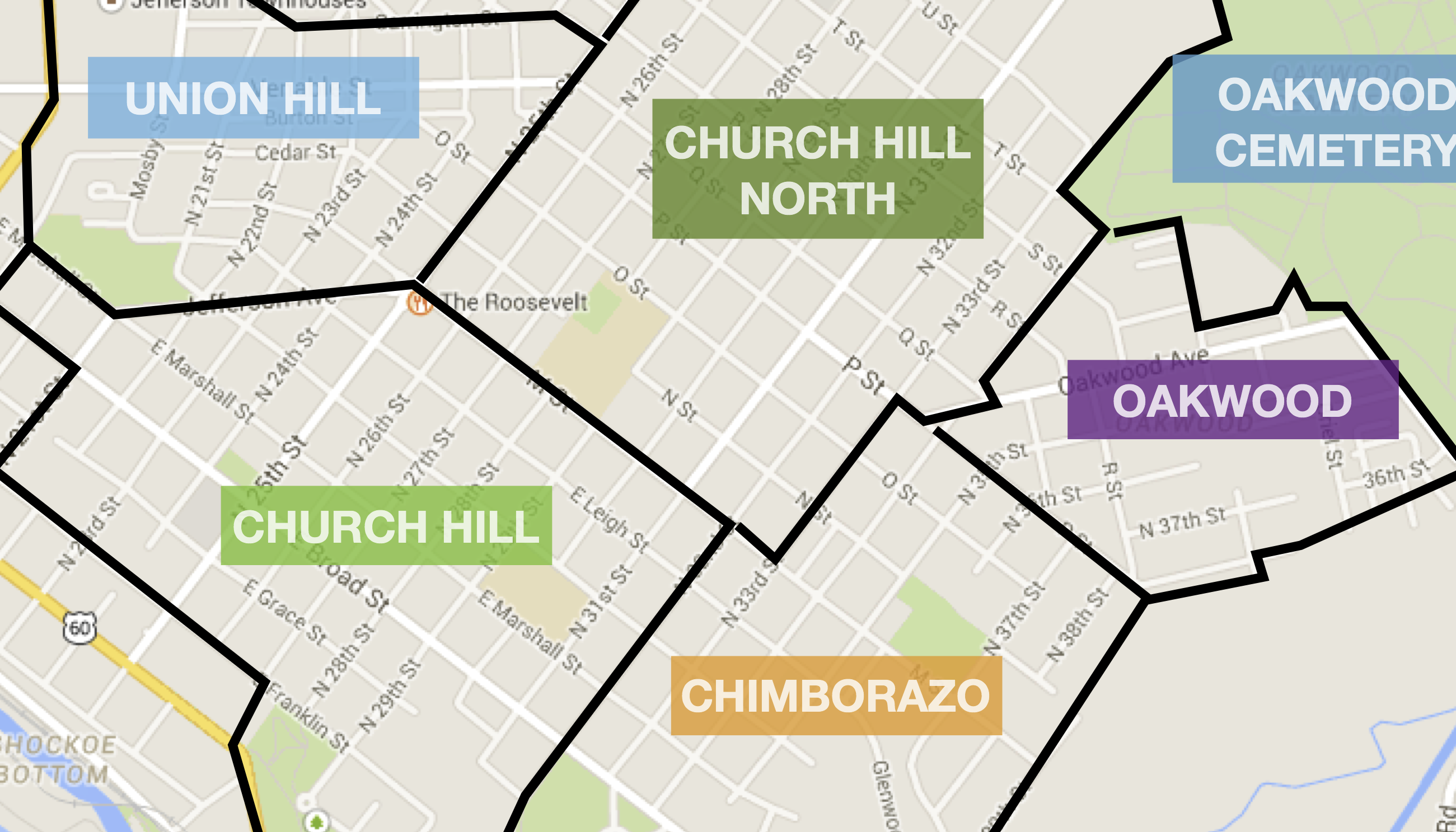 map of richmond's east end neighborhoods  church hill people's  - map of richmond's east end neighborhoods  church hill people's news richmond virginia