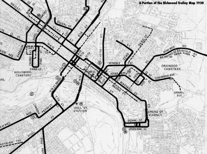 richmond trolley map 1930