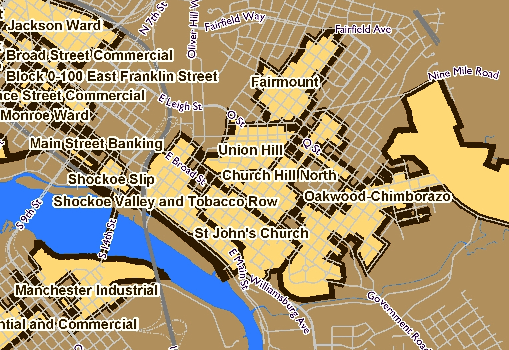 City Of Richmond Va >> Map of historic districts in Richmond - Church Hill People ...