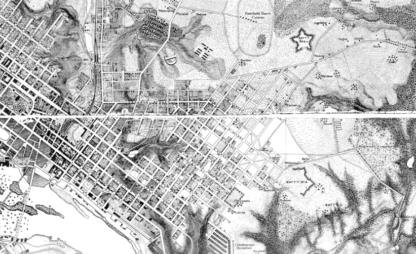 U S Army Corps Of Engineers Map Of Richmond 1867 Chpn