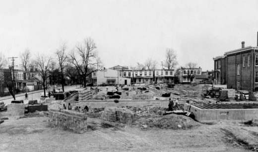 Expansion at Buchanan School (1952) showing previous houses and street grid VIA