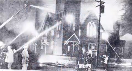 Thirty-first Street Baptist Church on fire