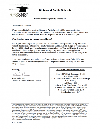 Community Eligibility Provision memo to parents 071014