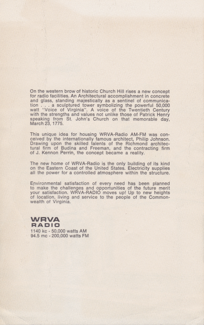 Dedication of the WRVA building (May 29, 1968)