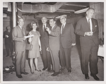 Philip Johnson (2nd from right)  / Dedication of the WRVA building (May 29, 1968)