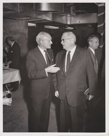 Philip Johnson (left)  / Dedication of the WRVA building (May 29, 1968)