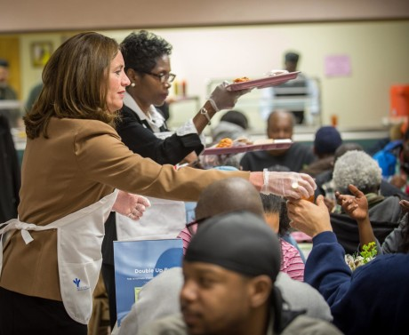 The First Lady of Virginia Dorothy McAuliffe and 7th District Councilwoman Cynthia Newbille serve lunch during 31st Street Baptist Church's Nutrition Center.