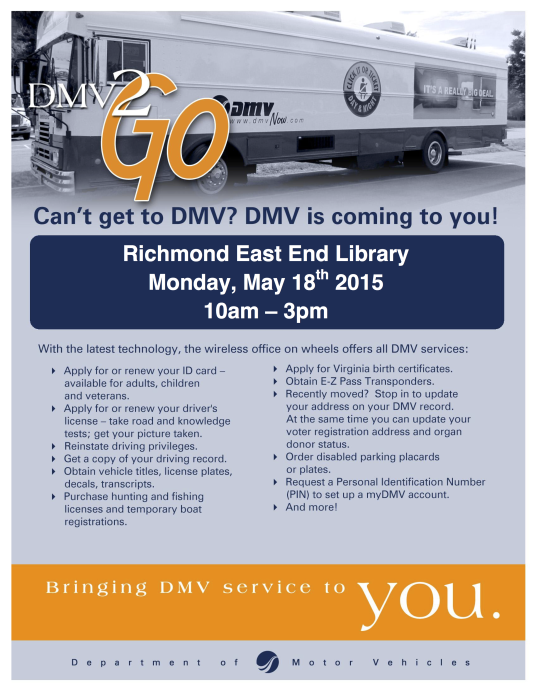 DMV2Go Flyer Richmond East End Library