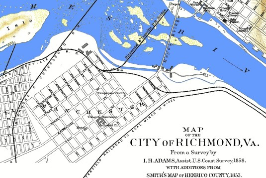 Early Manchester from Map of Richmond from the Official Records Atlas, Plate LXXXIX, #2. Prepared in 1864 by A. D. Bache for the U. S. Coast Survey (via Civil War Richmond)