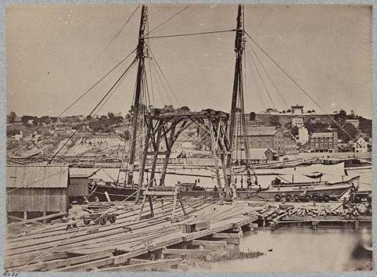 Confederate Navy Yard via Library of Congress. View on the dock on south side of James River opposite Rocketts, Richmond, Va., April, 1865