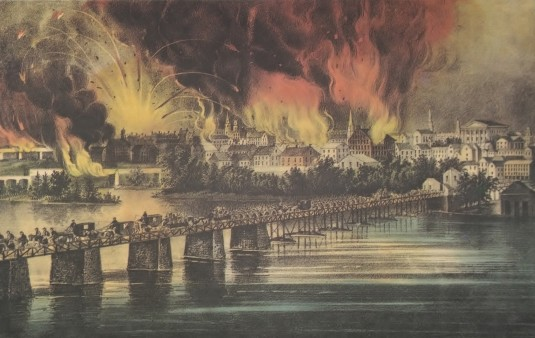 Richmond Burning by Currier & Ives, The Fall of Richmond, VA on the Night of April 2, 1865