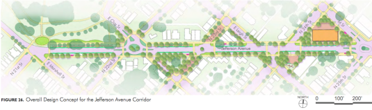 """Typical improvements throughout the corridor include buffered bicycle lanes on both sides of the avenue, porous paving in on-street parking spaces, shelters at bus stops, rain gardens, and street trees. """