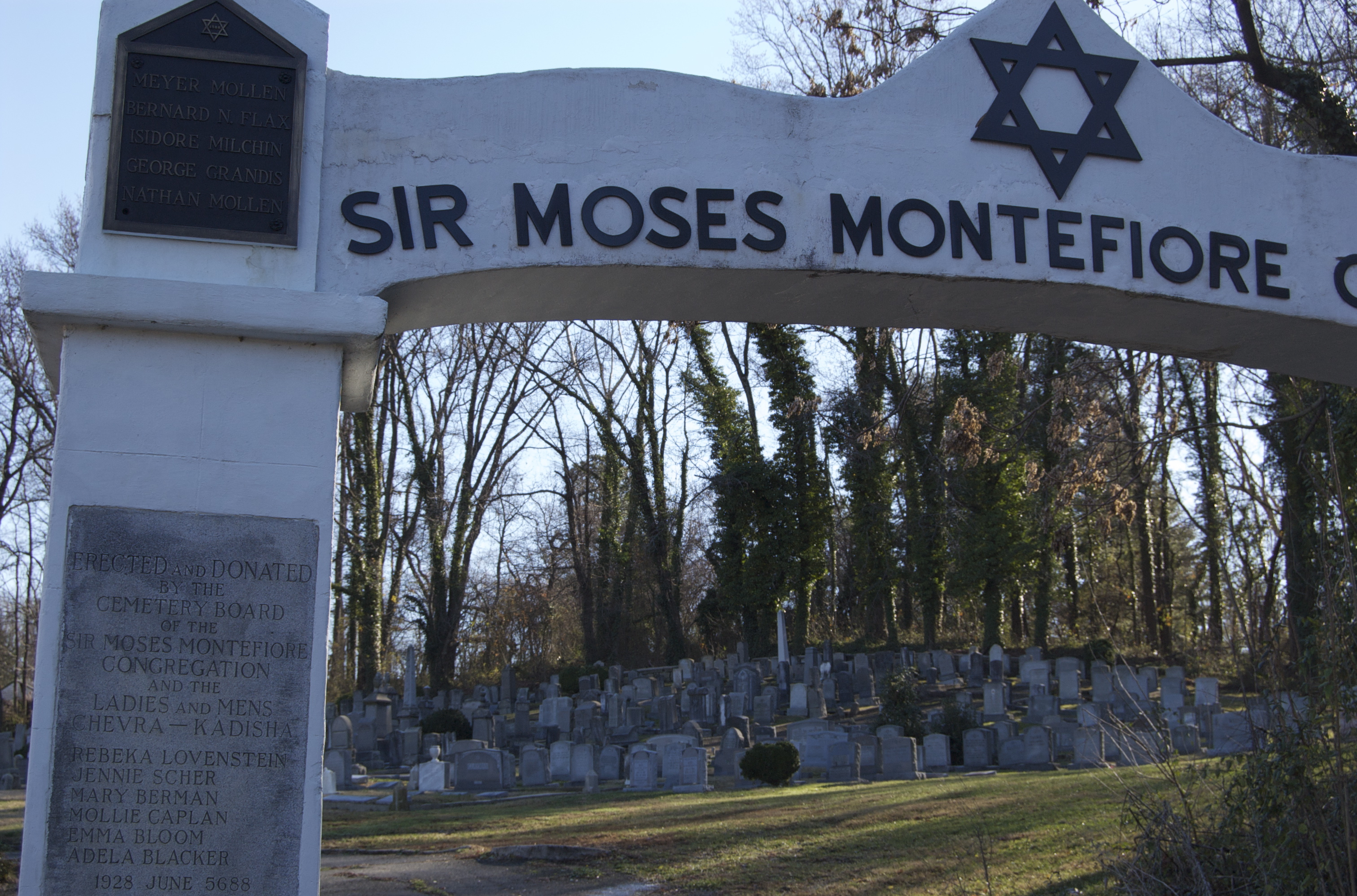 The largest cemetery is the Sir Moses Montefiore Cemetery, which was founded in 1929 by a Russian Orthodox congregation that was established in Richmond in the 1880s. Jennie Scher was a member of the Sir Moses Montefiore Congregation and was one of the founding members of the Cemetery in 1928-1929. The cemetery is still in use and it is maintained by Keneseth Beth Israel Synagogue, which is located on Patterson Avenue. (http://greaterfultonnews.org/wp-content/uploads/2009/10/Fulton-News_Oct09.pdf)