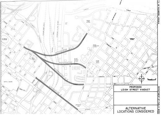 Options considered for location of MLK Bridge (via Proposed Leigh Street Viaduct - City of Richmond May 1972)