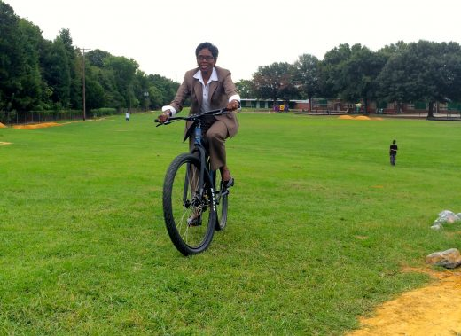 Cynthia Newbille at the opening of the Armstrong Bike Park