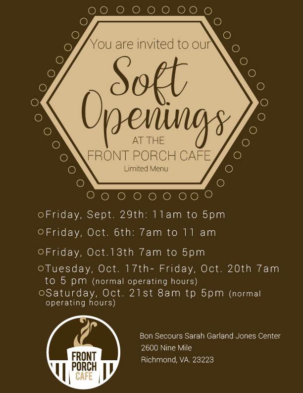 front porch cafe soft opens next 3 fridays  regular hours